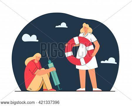 Doctor Saving Addicted Girl. Flat Vector Illustration. .cartoon Woman In White Coat Holding Lifebuoy