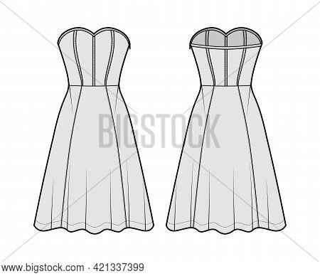 Dress Corset Technical Fashion Illustration With Sleeveless, Strapless, Fitted Body, Knee Length Cir