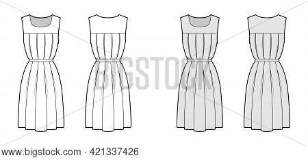 Dress Gymslip Technical Fashion Illustration With Sleeveless, Knee Length A-line Skirt, Pleats. Flat