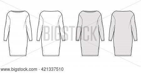 Dress Sack Slouchy Technical Fashion Illustration With Long Sleeves, Oversized Body, Knee Length Pen