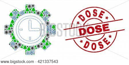 Winter Covid-2019 Collage Clock Setup Wheel, And Textured Dose Red Round Stamp. Collage Clock Setup