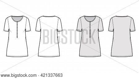 Dress Henley Collar Technical Fashion Illustration With Short Sleeves, Oversized Body, Mini Length P