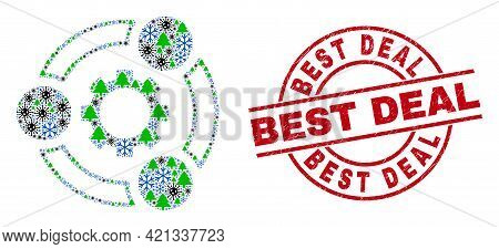 Winter Pandemic Collage Industrial Cooperation, And Grunge Best Deal Red Round Stamp Imitation. Coll
