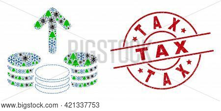 Winter Covid Collage Spend Coins, And Grunge Tax Red Round Stamp Seal. Mosaic Spend Coins Is Created