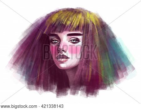 Stylish Trendy Modern Female Art Portrait, Abstract Drawing, Multicolor Portrait On White Background