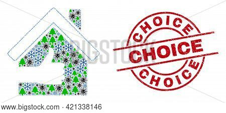 Winter Coronavirus Collage Best House, And Textured Choice Red Round Stamp Imitation. Collage Best H