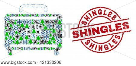 Winter Covid-2019 Collage First Aid Case, And Dirty Shingles Red Round Stamp. Collage First Aid Case