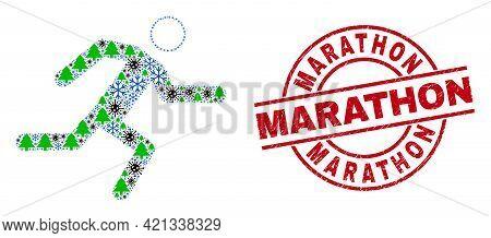 Winter Viral Collage Running Man, And Distress Marathon Red Round Stamp. Mosaic Running Man Is Desig