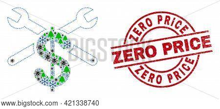Winter Pandemic Collage Repair Price, And Distress Zero Price Red Round Stamp Seal. Mosaic Repair Pr