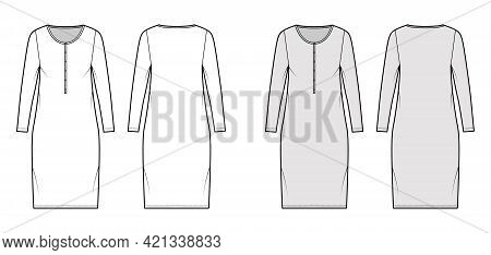 Dress Henley Collar Technical Fashion Illustration With Long Sleeves, Oversized Body, Knee Length Pe