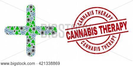 Winter Pandemic Collage Cross, And Dirty Cannabis Therapy Red Round Stamp Print. Collage Cross Is Ma