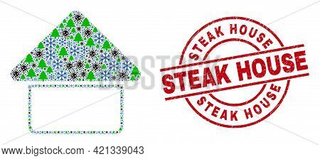 Winter Coronavirus Collage Home, And Textured Steak House Red Round Stamp Imitation. Collage Home Is