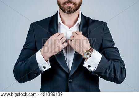 Cropped Man Wear Formal Suit Cropped View. Business Attire. Formalwear And Dress Code.