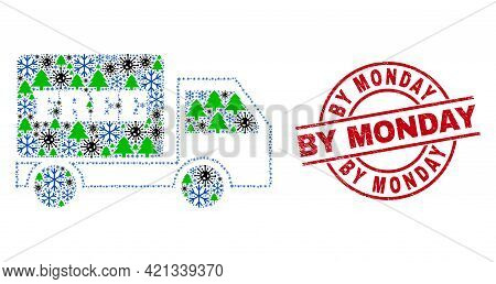 Winter Covid-2019 Collage Free Delivery, And Unclean By Monday Red Round Watermark. Collage Free Del