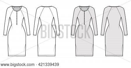 Dress Henley Collar Technical Fashion Illustration With Long Raglan Sleeves, Fitted Body, Knee Lengt