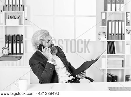 Verify Data. Business Management Professional. Chief Information Officer Speak On Phone. Smiling It