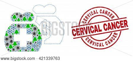 Winter Viral Collage Medical Funds, And Scratched Cervical Cancer Red Round Watermark. Collage Medic