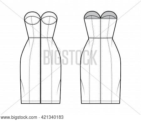 Zip-up Tube Dress Technical Fashion Illustration With Bustier, Sleeveless, Strapless, Fitted Body, K