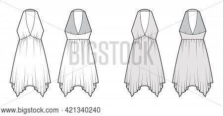 Dress Handkerchief Hem Chemise Technical Fashion Illustration With Sleeveless, Empire Seam Halter Ne
