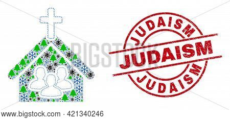 Winter Viral Mosaic Church People, And Scratched Judaism Red Round Stamp Seal. Mosaic Church People