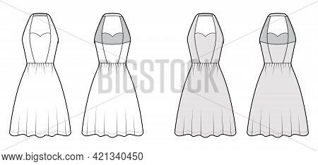 Dress Halterneck Technical Fashion Illustration With Sleeveless, Fitted Body, Knee Semi-circular Len