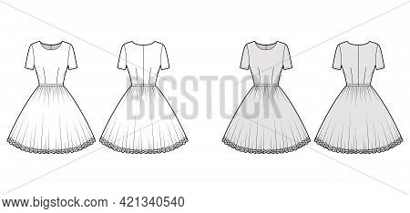 Dress Tutu Technical Fashion Illustration With Short Sleeves, Fitted Body, Knee Length Circular Skir