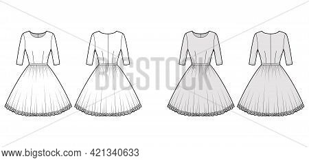 Dress Tutu Technical Fashion Illustration With Elbow Sleeves, Fitted Body, Knee Length Circular Skir