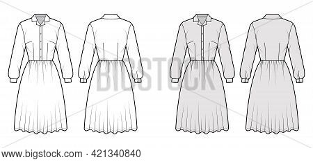 Dress House Shirt Technical Fashion Illustration With Long Sleeves With Cuff, Knee Length Full Skirt