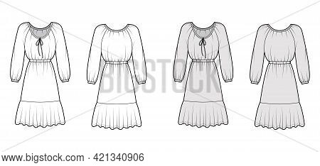 Dress Peasant Technical Fashion Illustration With Long Sleeves, Fitted Body, Knee Length Peplum Penc