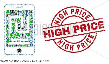 Winter Covid-2019 Collage Mobile Shekel Account, And High Price Red Round Badge. Collage Mobile Shek