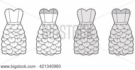 Dress Petal Chemise Technical Fashion Illustration With Strapless, Sleeveless, Fitted Body, Knee Len