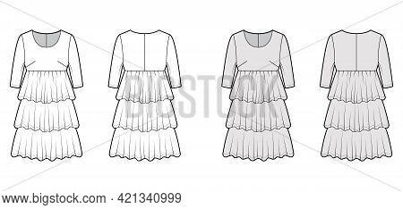 Dress Babydoll Technical Fashion Illustration With Elbow Sleeves, Oversized Body, Knee Length Ruffle