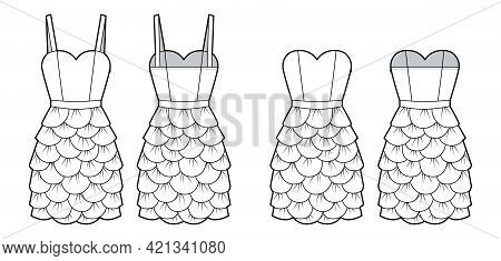 Set Of Dresses Petal Chemise Technical Fashion Illustration With Thin Straps Strapless, Fitted Body,