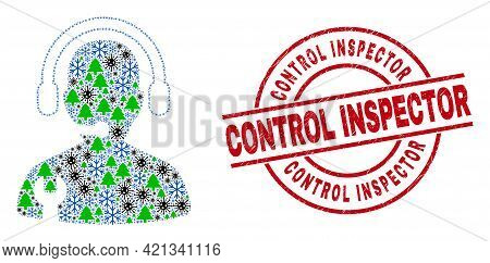 Winter Pandemic Composition Service Operator, And Grunge Control Inspector Red Round Stamp Seal. Col