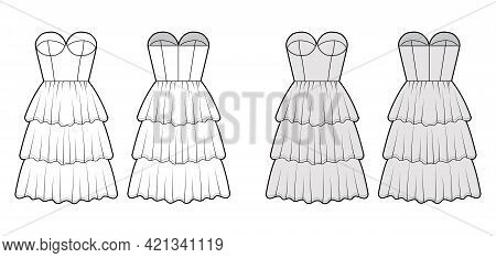 Strapless Dress Bustier Technical Fashion Illustration With Fitted Body, 3 Row Knee Length Ruffle Ti