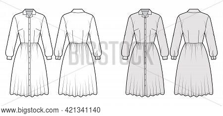 Dress Shirt Technical Fashion Illustration With Long Sleeves, Camp Collar, Fitted Body, Knee Length,