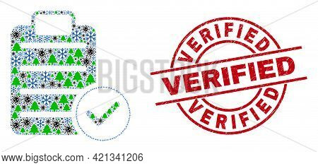 Winter Covid-2019 Composition Accept Pad Text, And Textured Verified Red Round Stamp Seal. Mosaic Ac