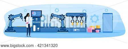 Female Character Is Controlling Smartphone Production Process. Woman In Robe On Automated Machinery