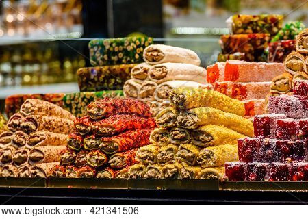 Turkish Delight And Different Sweets For Sale At Bazaar In Turkey