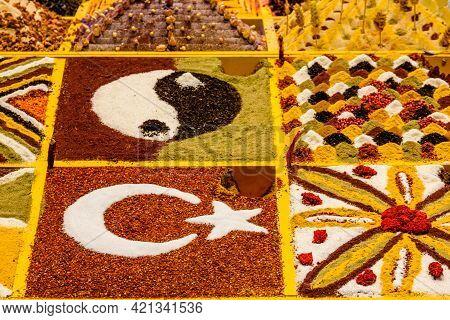 Different Seasonings For Sale At Turkish Bazaar