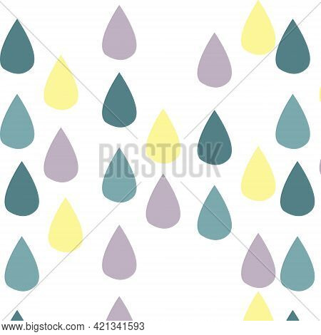 Seamless Pattern Digital Paper Wallpaper Colored Raindrops On White Background