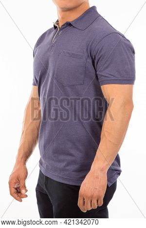 Dark Purple Color Shirt On Adult American Men With A Short Sleeve On A Casual Look Isolated On A Whi