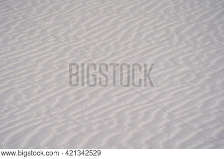 Ripples In The White Gypsum Sand In White Sands National Park In New Mexico, Useful For Backgrounds