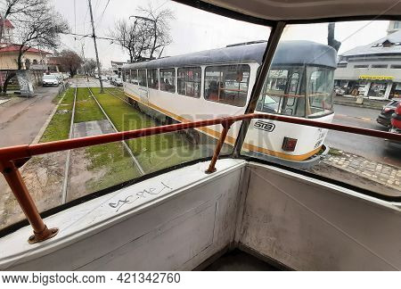 Bucharest, Romania - March 18, 2021: An Old Tatra T4 Tram Produced By The Czech Manufacturer Ckd Tat