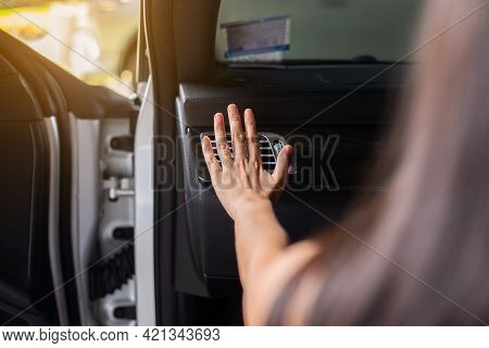 Close Up Of Hand Woman Checking Flow Cold From Air Conditioner In Modern Car,cooling System In Car,a