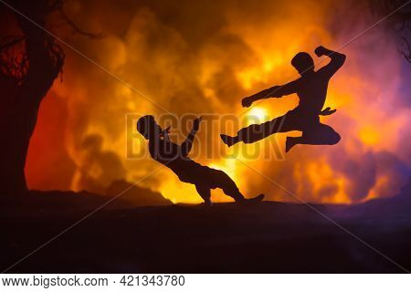 Karate Athletes Fighting Scene On Boxing Ring With Red Ropes. Character Karate. Posing Figure Artwor