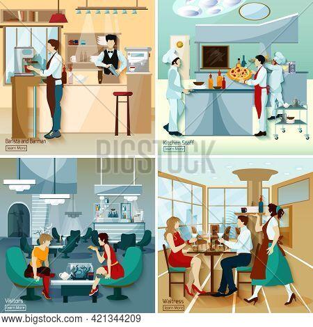 Restaurant People 2x2 Design Concept Set With Barista Barmen Kitchen Staff Visitors And Waitress Fla