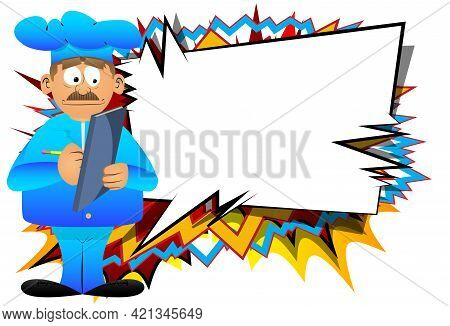 Fat Male Cartoon Chef In Uniform Writing On A Books Cover. Vector Illustration. Cook With A Notebook