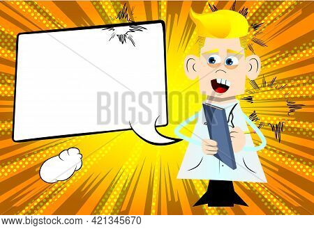 Funny Cartoon Doctor Writing On A Books Cover. Vector Illustration. Health Care Worker With A Notebo