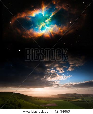Countryside Sunset Landscape With Planets In Night Sky Elements Of This Image Furnished By Nasa.gov